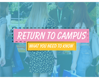Image of welcome fayre with the 'Return to campus logo'
